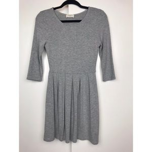 Everly Pleated Grey Dress Medium